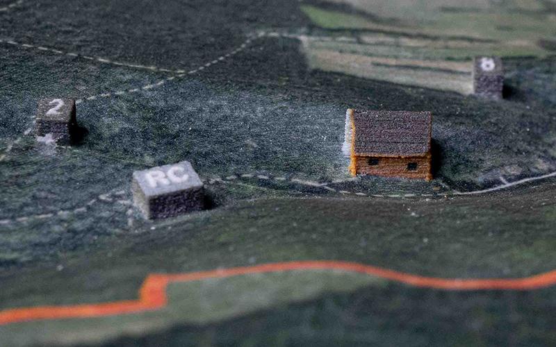 Markierungen 3D Modell Landkarte